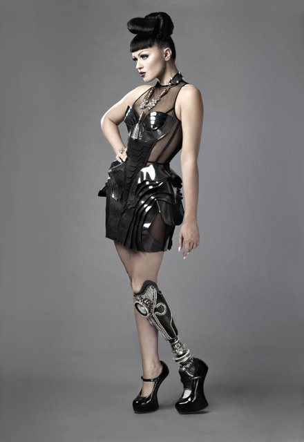 Performer Viktoria Modesta pictured in London - 1/9/2012. Viktoria has a number of artificial legs.  Jon Enoch for The Times.